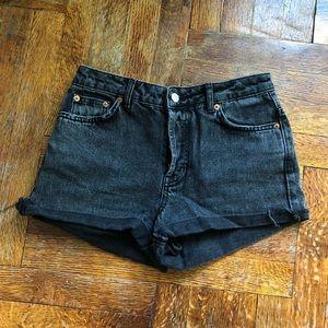 Top shop black washed jean shorts